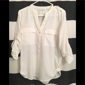 Calvin Klein white shirt with pockets Euc